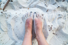Feet in the sand Royalty Free Stock Images