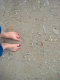Feet in Sand Royalty Free Stock Photo