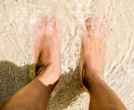 Feet sand sea and me Royalty Free Stock Image