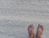 Feet in the sand Royalty Free Stock Photos