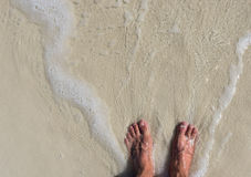 Feet in the sand and water Stock Image