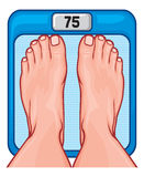 Feet on the scale. Scale spot, diet program concept, human scales, feet on weighing scales, legs on weights, foot on bathroom scale, feet on the balance Royalty Free Stock Image