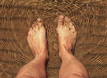 Feet in sea water. Stock Images