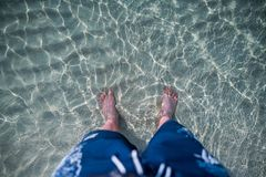 Feet in the sea water. Feet in the sea pure water nearby on the beach Stock Photography