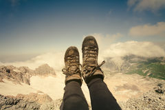 Feet selfie Woman trekking boots relaxing outdoor Royalty Free Stock Image