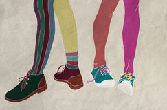 Feet in shoes. Differences and diversity Stock Photo