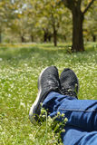 Feet in shoes on green field. With flowers Royalty Free Stock Image