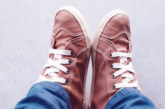 Feet and shoes. Selfie image. Urban style Royalty Free Stock Images