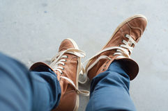 Feet and shoes. Selfie image. Urban style Stock Images