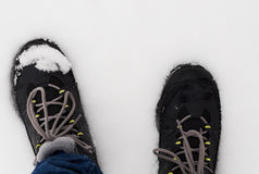 Feet in shoes in the white snow Stock Image