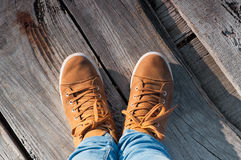 Feet and shoes in wood. Selfie image Royalty Free Stock Images