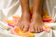 Feet on the silk cloth with rose-petals Stock Photo