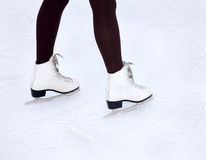 Feet skater on the ice Stock Image