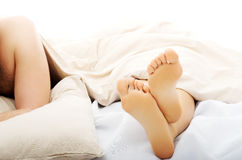 Feet of sleeping woman. stock image