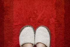 Feet in slippers. Feet in sleeper on a red rug Stock Images