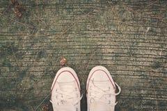 Feet sneaker women royalty free stock images