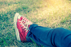 Feet in sneakers Royalty Free Stock Images