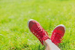 Feet in sneakers in green grass Stock Photography
