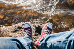 Feet in sneakers Royalty Free Stock Photography