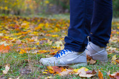 Feet sneakers walking on fall leaves. In autumn Royalty Free Stock Images