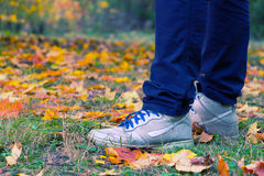 Feet sneakers walking on fall leaves. In autumn Royalty Free Stock Photo