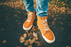 Feet sneakers walking on fall leaves Outdoor Stock Photo