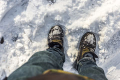 Feet in the snow Royalty Free Stock Photo