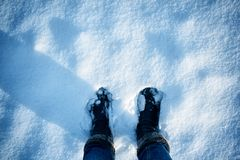 Feet on the snow Stock Photography