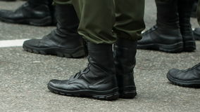 Feet of soldiers at army stock video