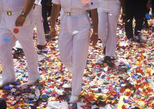 The Feet of Soldiers Walking on Confetti, New York City, New York Stock Image