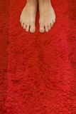 Feet standing on a rug. Feet standing on a red rug Royalty Free Stock Images