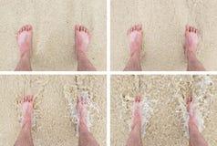 Feet standing still on a beach Stock Photo