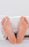 Feet sticking out from the quilt Royalty Free Stock Photo