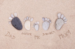 Feet by stones - family Royalty Free Stock Photos