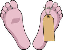 Feet with tag. Feet with a tag on a white background vector Royalty Free Stock Images
