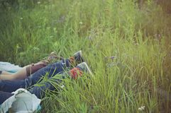 Feet in tall grasses Royalty Free Stock Photos