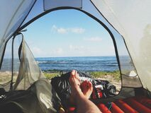 Feet in tent Stock Photography