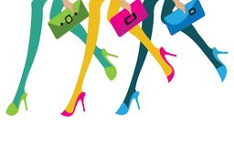 Feet of three girls with their purses going to shopping stock illustration