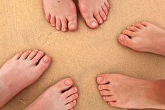 Feet of three Persons at the beach. Three pairs of feet at the beach royalty free stock photo