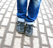 Feet of the timid teenager Royalty Free Stock Photography
