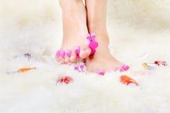 Feet in toe separators Stock Images