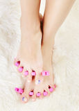 Feet in toe separators Royalty Free Stock Image