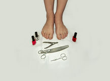 Feet and toes in poor condition and they need in a pedicure Royalty Free Stock Photography