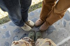 Feet together as a group stock photography