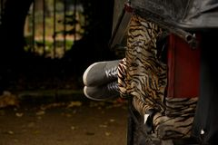 Feet in trainers poking out of rickshaw Stock Photography