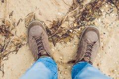 Feet trekking boots hiking Traveler alone outdoor wild nature Li Stock Photography