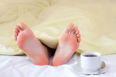 Feet under blanket Stock Photography