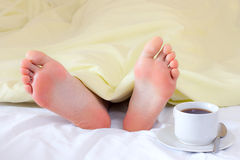 Feet under blanket Stock Photos