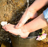 Feet under cold water Kneipp Royalty Free Stock Photo
