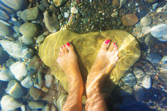 Feet under water. royalty free stock photography
